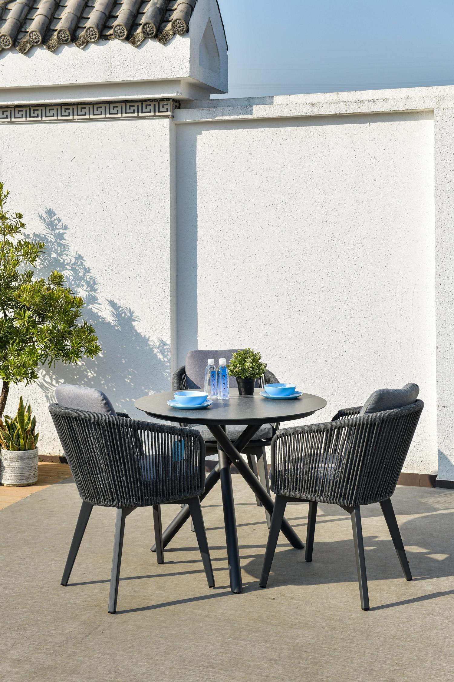 现代科莱陶瓷炭灰桌椅